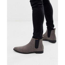 エイソス ASOS DESIGN メンズ ブーツ チェルシーブーツ シューズ・靴【chelsea boots in grey faux suede】Grey