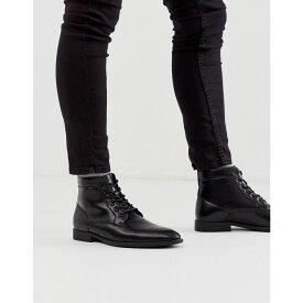 エイソス ASOS DESIGN メンズ ブーツ レースアップブーツ シューズ・靴【lace up boots in black faux leather】Black