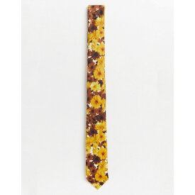 エイソス ASOS DESIGN メンズ ネクタイ 【slim tie in mustard floral print】Yellow