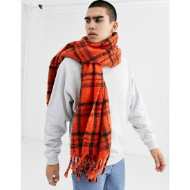 エイソス ASOS DESIGN メンズ マフラー・スカーフ・ストール 【blanket scarf in orange and black brushed check】Orange