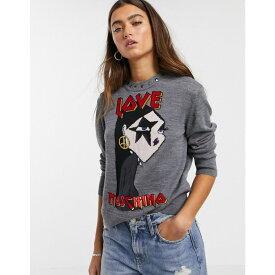 モスキーノ Love Moschino レディース ニット・セーター トップス【star girl graphic print logo jumper in wool blend】Mel.dark gray