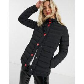モスキーノ Love Moschino レディース ダウン・中綿ジャケット アウター【tube quilted jacket with heart poppers】Black