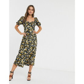 エイソス ASOS DESIGN レディース ワンピース マキシ丈 ワンピース・ドレス【button through maxi tea dress in floral animal print】Black/mustard floral