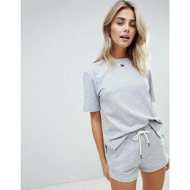 トミー ヒルフィガー Tommy Hilfiger レディース Tシャツ トップス【Flag Cotton T-Shirt】Grey
