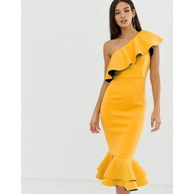 エイソス ASOS DESIGN レディース ボディコンドレス ワンピース・ドレス【structured ruffle one shoulder pep hem bodycon dress】Yellow