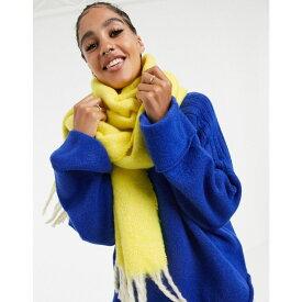 エイソス ASOS DESIGN レディース マフラー・スカーフ・ストール 【fluffy two tone long scarf with tassels in yellow】Fluro yellow