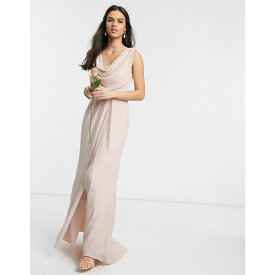 エイソス ASOS DESIGN レディース ワンピース マキシ丈 ワンピース・ドレス【Bridesmaid cowl front maxi dress with button back detail】Soft blush
