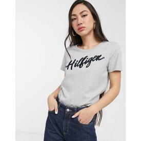 トミー ヒルフィガー Tommy Hilfiger レディース Tシャツ トップス【Velia logo t-shirt】Light grey htr