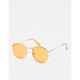 エイソス ASOS DESIGN メンズ メガネ・サングラス ラウンド【round sunglasses in gold metal with orange lens】Orange