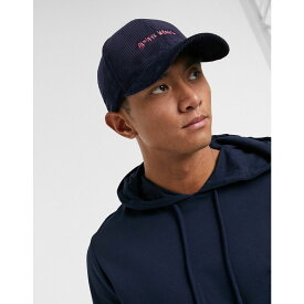 エイソス ASOS DESIGN メンズ キャップ ベースボールキャップ 帽子【cord baseball cap in navy with pink slogan embroidery】Navy