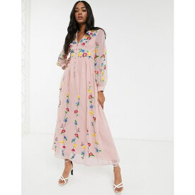 エイソス ASOS DESIGN レディース ワンピース マキシ丈 ワンピース・ドレス【button through maxi dress in trailing floral embroidery in pink】Pink