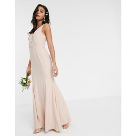 エイソス ASOS DESIGN レディース ワンピース マキシ丈 ワンピース・ドレス【Bridesmaid button back maxi dress with satin twist detail】Soft blush
