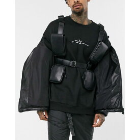 エイソス ASOS DESIGN メンズ バッグ 【chest harness bag in black faux leather with multi compartment detail】Black