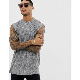 エイソス ASOS DESIGN メンズ ノースリーブ トップス【oversized sleeveless t-shirt in interest rib】Grey