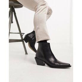 エイソス ASOS DESIGN メンズ ブーツ チェルシーブーツ ウエスタンブーツ シューズ・靴【cuban heel western chelsea boot in black leather with angular sole】Black