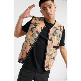 カール カナイ Karl Kani メンズ ベスト・ジレ トップス【Camo utility vest in camel/pink】Camel/coral