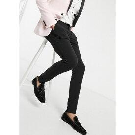エイソス ASOS DESIGN メンズ スラックス ボトムス・パンツ【super skinny suit trousers in black with satin side stripe】Black