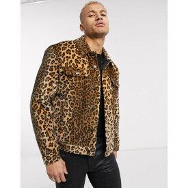 エイソス ASOS EDITION メンズ ジャケット アウター【faux fur leopard print western jacket in brown】Brown