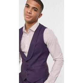 エイソス ASOS DESIGN メンズ ベスト・ジレ トップス【wedding skinny wool mix suit waistcoat in soft burgundy twill】Burgundy