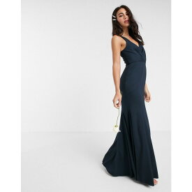 エイソス ASOS DESIGN レディース ワンピース マキシ丈 ワンピース・ドレス【Bridesmaid button back maxi dress with pleated bodice detail】Navy