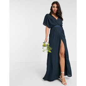 エイソス ASOS DESIGN レディース ワンピース マキシ丈 ワンピース・ドレス【Bridesmaid short sleeved cowl front maxi dress with button back detail】Navy