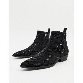 エイソス ASOS DESIGN メンズ ブーツ チェルシーブーツ ウェスタンブーツ シューズ・靴【cuban heel western chelsea boots in black faux suede with diamante and strap detail】Black