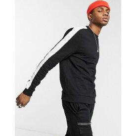 エイソス ASOS DESIGN メンズ スウェット・トレーナー トップス【Asos Design Sweatshirt In Black With Side Stripe】Black