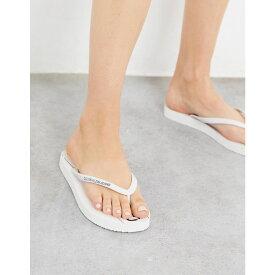 カルバンクライン Calvin Klein レディース ビーチサンダル シューズ・靴【Dasheen Logo Flip Flop In White】White/black