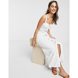 エイソス ASOS DESIGN レディース ワンピース マキシ丈 ワンピース・ドレス【Asos Design Broderie Strappy Button Through Maxi Dress In White】White