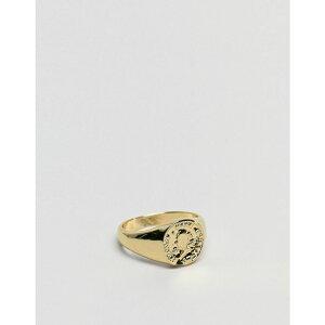 エイソス ASOS DESIGN メンズ 指輪・リング ピンキーリング ジュエリー・アクセサリー【pinky ring with coin in gold tone】Gold