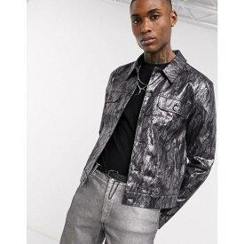 エイソス ASOS DESIGN メンズ ジャケット アウター【jacket in metallic snakeskin】Black