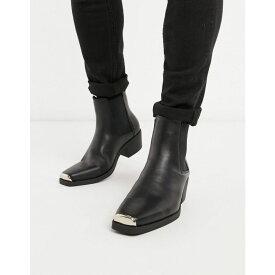 エイソス ASOS DESIGN メンズ ブーツ チェルシーブーツ ウェスタンブーツ シューズ・靴【cuban heel western chelsea boots in black faux leather with metal hardware】Black