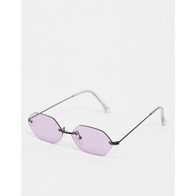 エイソス ASOS DESIGN メンズ メガネ・サングラス 【metal angled rimless sunglasses in black with lilac lens】Black