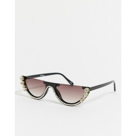 ジーパーズ ピーパーズ Jeepers Peepers メンズ メガネ・サングラス 【x ASOS cat eye flatbrow sunglases in black with diamonte detail】Black