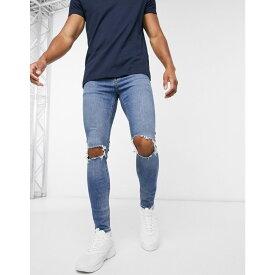 エイソス ASOS DESIGN メンズ ジーンズ・デニム ボトムス・パンツ【Cone Mill Denim spray on jeans with power stretch in vintage mid wash blue with knee rips】Mid wash blue