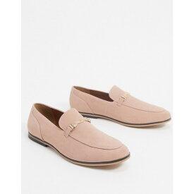 エイソス ASOS DESIGN メンズ ローファー シューズ・靴【loafers in pink faux suede with snaffle detail】Pink