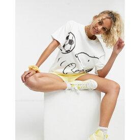 リーバイス Levi's レディース Tシャツ トップス【x Peanuts oversized graphic print t-shirt in white】White
