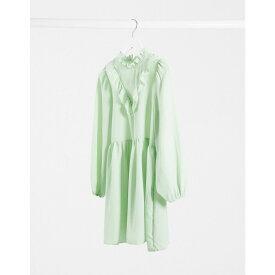 エイソス ASOS DESIGN レディース ワンピース ミニ丈 ワンピース・ドレス【frill neck detail smock mini dress in mint green】Mint