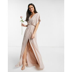 エイソス ASOS DESIGN レディース ワンピース マキシ丈 ワンピース・ドレス【Bridesmaid short sleeved cowl front maxi dress with button back detail in Blush】Blush