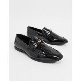 エイソス ASOS DESIGN メンズ ローファー シューズ・靴【loafers in black faux leather with snake effect】Black