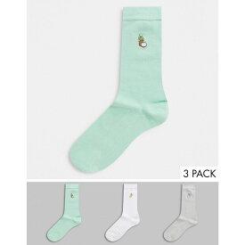 エイソス ASOS DESIGN メンズ ソックス 3点セット インナー・下着【ankle socks with milk embroidery 3 pack】Multi