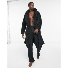 エイソス ASOS DESIGN メンズ ガウン・バスローブ インナー・下着【lounge dressing gown in black fleece】Black