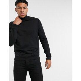 エイソス ASOS DESIGN メンズ スウェット・トレーナー タートルネック トップス【Organic Sweatshirt With Turtle Neck In Black】Black