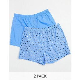 エイソス ASOS DESIGN メンズ ボクサーパンツ 2点セット インナー・下着【2 Pack Woven Boxer Shorts】Blue