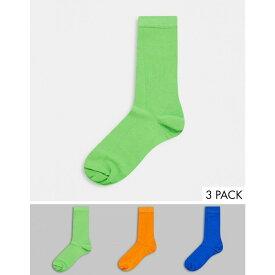 エイソス ASOS DESIGN メンズ ソックス 3点セット インナー・下着【Ankle Socks In Blue Orange & Green 3 Pack】Multi