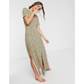 エイソス ASOS DESIGN レディース ワンピース マキシ丈 ワンピース・ドレス【Button Through Maxi Tea Dress With Splits In Yellow Ditsy Print】Grunge ditsy