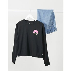 リーバイス Levi's レディース 長袖Tシャツ トップス【Graphic Long Sleeve Tee In Black】Neon peace caviar