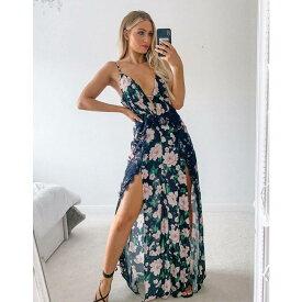 ラッシュオブロンドン Lashes of London レディース ワンピース マキシ丈 ワンピース・ドレス【Lashes Of London Maxi Dress With Lace Detail In Floral】Multi