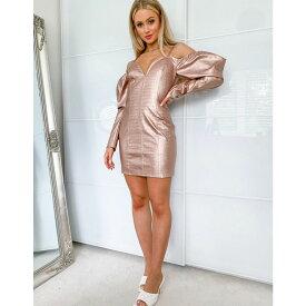 ラッシュオブロンドン Lashes of London レディース ワンピース ミニ丈 ワンピース・ドレス【Lashes Of London Pu Cold Shoulder Mini Dress In With Puff Sleeve Detail In Rose Gold】Rose gold
