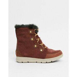 ソレル Sorel レディース ブーツ スノーブーツ シューズ・靴【explorer leather snow boots in dark red】Burro